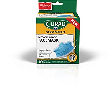 Mask With Maximum Count Germ Face Barrier Earloops Shield 10 Curad