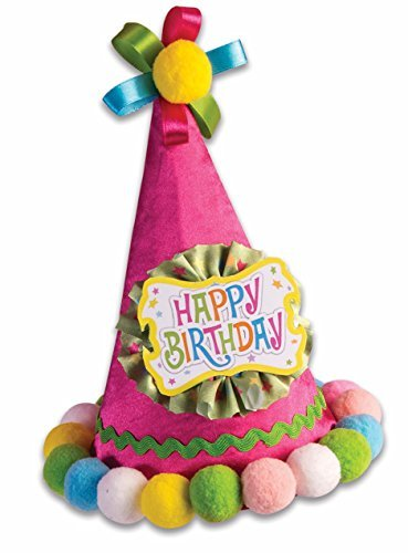Forum Novelties Festive Happy Birthday Cone Hat Adults Kids Pom Balls Circus Fancy (Fancy Birthday Hats)