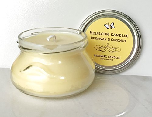 Glass Candle Coconut - Pure Beeswax Coconut Candle Glass Jar - Unscented, Handmade, 8oz