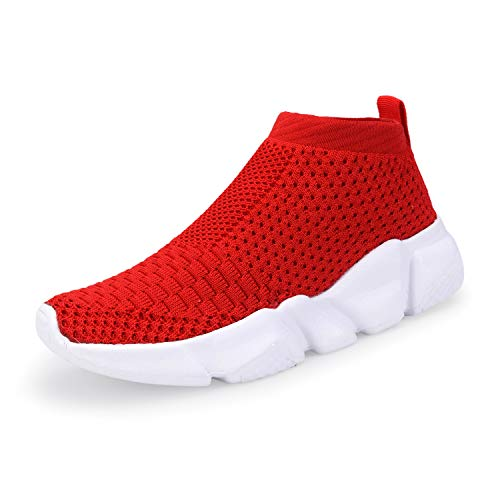 Casbeam Breathable Lightweight Boys and Girls Sport Fashion Sneakers Red 27