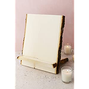 Dexon Power Tablet & Book Stand Natural Wood with Bark Edge 88