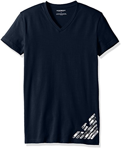 Emporio Armani Men's Silver Touch Eagle V-Neck T-Shirt, Marine, - Online Shop Emporio Armani