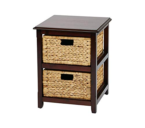 Оsp Dеsigns Seabrook 2-Tier Storage Unit with Natural Baskets, Espresso Finish ()