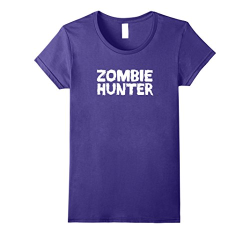 Womens Zombie Hunter Halloween Costume T-Shirt Large Purple