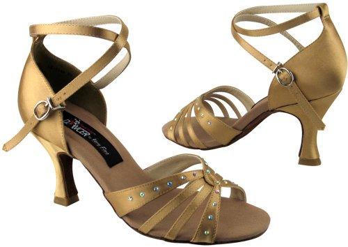 Très Belle Chaussures Concurrentiel Danseur Série Cd2808 Open Toe Avec Strass Tan