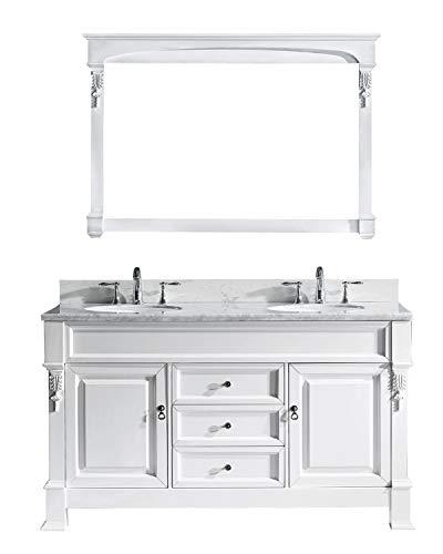 Virtu USA Huntshire 60 inch Single/Double Sink Bathroom Vanity Set in White w/Round Undermount Sink, Italian Carrara White Marble Countertop, No Faucet, 1 Mirror - GD-4060-WMRO-WH (60 Inch Bathroom Vanity Single Sink White)