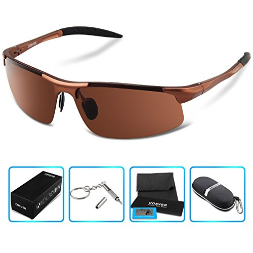 COSVER Men's Sports Style Polarized Sunglasses for Men Driving Cycling Running Fishing Golf Unbreakable Frame Metal Driver Glasses - Golf Mens Sunglasses