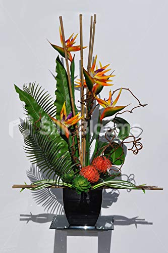 Silk Blooms Ltd Artificial Orange Pincushion Protea and Bird of Paradise Floral Arrangement w/Bamboo and Green Succulents