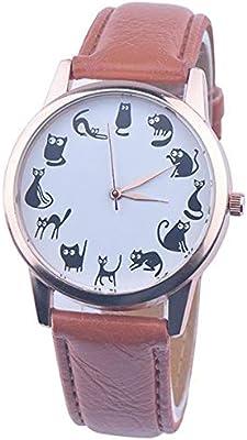 HTRHHG Mujeres Relojes Estilo Retro Lovely Cartoon Cat Leather Quartz Analógico Reloj de Pulsera Señoras Relojes Casuales, 1
