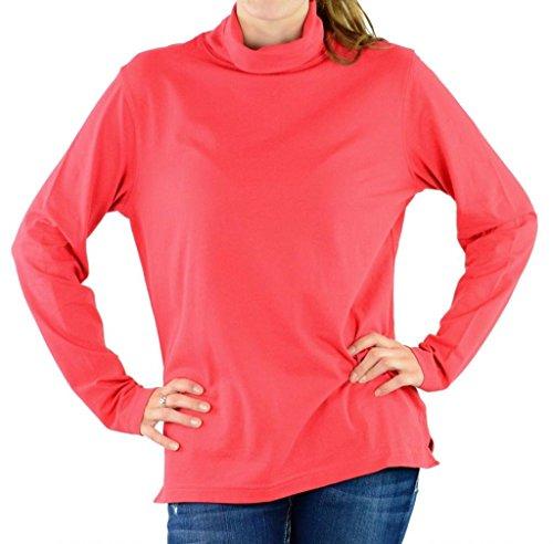 Devon & Jones Pink Women's Long Sleeve Stretch Jersey Turtleneck Shirt DP160W red Large
