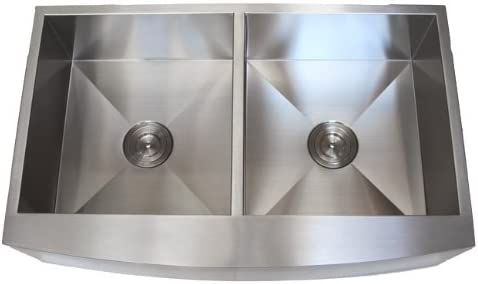 36 Inch Stainless Steel Curved Front Farmhouse Apron Kitchen Sink 50 50 Double Bowl 16 Gauge