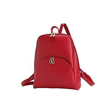 liningwomen mochila cuero mochilas bolsas marca diseño de tapa blanda bolsa bolsa de estilo Preppy Casual mochilas adolescentes mochila, rojo: Amazon.es: ...