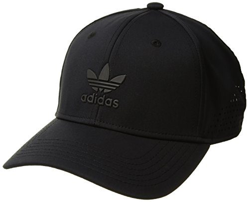 adidas Men's Originals Tech Mesh Structured Snapback Cap, Black/Black, One - Back Hat Snap Cap