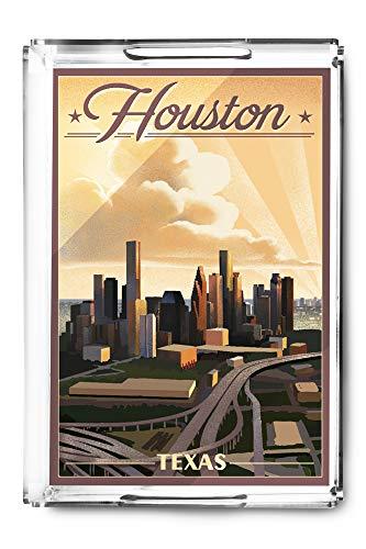 Houston, Texas - Lithograph (Acrylic Serving Tray)