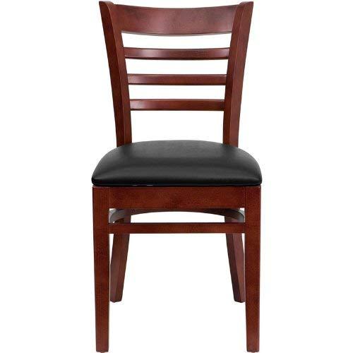 Flash Furniture HERCULES Series Ladder Back Mahogany Wood Restaurant Chair - Black Vinyl Seat