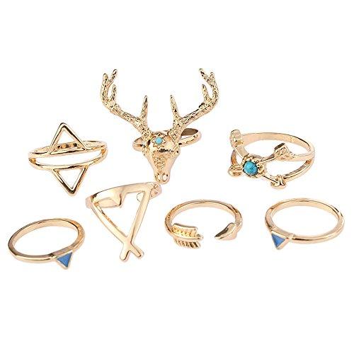 SUNFANI 7 PCS Vintage Knuckle Ring Set Boho Goat Moose Head Arrow Turquoise Crystal Midi Finger Ring for Women (Gold)