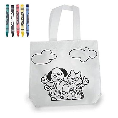 Bolsa Para Colorear - Detalles para Niños, Cumpleaños, Colegios, Fiestas - Bolsa infantil para pintar con pinturas de cera - DISOK Ideal para regalos ...