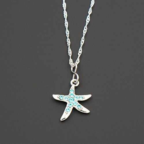 estone Starfish Pendant Necklace - Delicate Twist Link Chain, 1.25 & 18-in (Starfish Link Necklace)