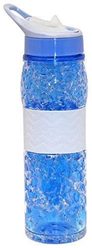 Green Canteen DWPTBCG-100-4C-BL Double Wall Tritan Plastic Hydration Bottle with Sippy Cap and Silicone Wrap and Crackle Gel, 18 oz, Blue