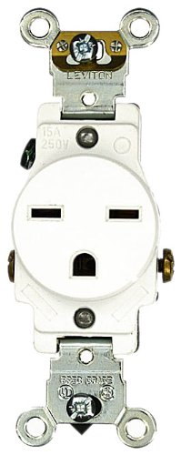 Leviton 5651-W 15 Amp, 250 Volt, Industrial Heavy Duty Grade, Single Receptacle, Straight Blade, Self Grounding, White
