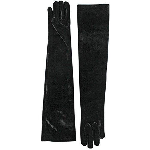 Long Velvet Gloves (Velvet Black Long 3/4 Opera Arm Length Evening Gloves)
