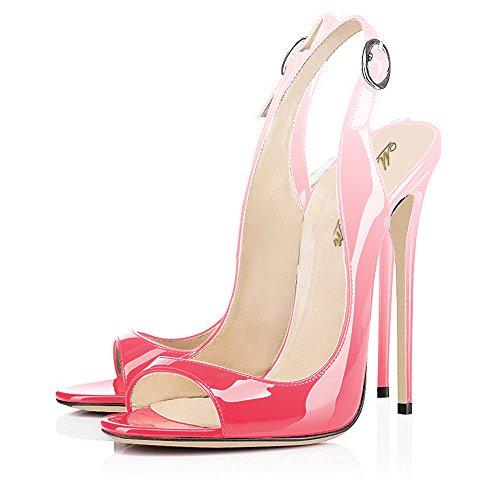 Modemoven Women's Patent Leather Pumps,Peep Toe Heels,Slingback Sandals,Evening Shoes,Cute Stilettos Peach Pale Pink