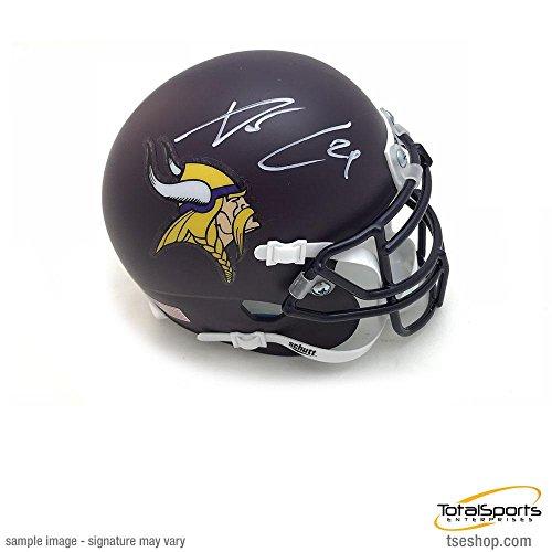 Signed Xavier Rhodes Mini Helmet - Custom Dark Purple Schutt