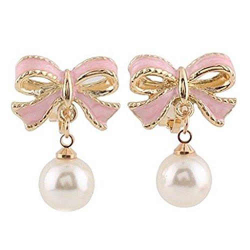 - Pink Bowknot Simulation Pearl Ear Clip On Dangle Earrings Non Pierced Bridal Wedding for Girls Women