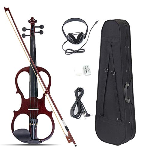 4/4 Electric Violin Full Size with Connecting Line Earphone & Case for Beginners - Musical Instruments Violin - (Wine Red) - 1x Violin, 1x Bow, 1x Violin Case