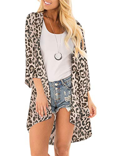 (Women Floral Print Kimono Cover Up Sheer Chiffon Blouse Loose Long Cardigan Leopard Print Large)
