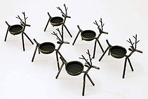 DIAMOND HEHUA 1-11-0 6 Reindeer Tea Light Holders. Each Metal, 5