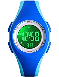 Kids Watch Sport Multi Function 30M Waterproof LED Alarm Stopwatch Digital Child Wristwatch for Boy Girl (All Blue)