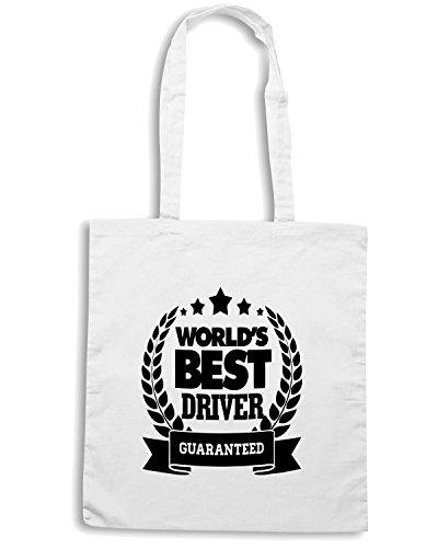 T-Shirtshock - Borsa Shopping TB0381 Mug World s Best Driver Noel Trackday Motorsport Car Bianco