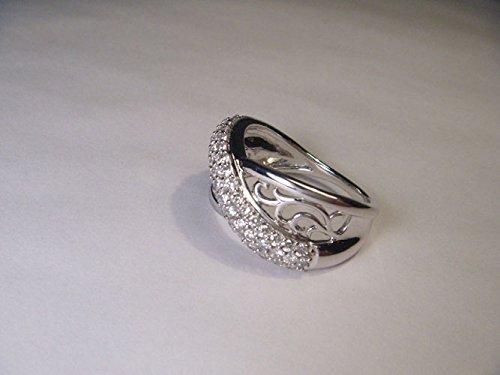 Magnificent 14K White Gold Paved Diamond Bridge Swirl Cocktail Ring ()