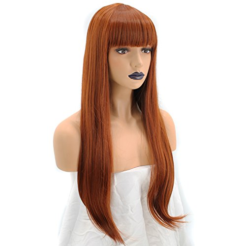 Anogol Hair Cap+ Women's Copper Red Orange Synthetic Red Wig With Bangs Hair Long Natural Wavy Wigs For Daily Life Hairstyles ()
