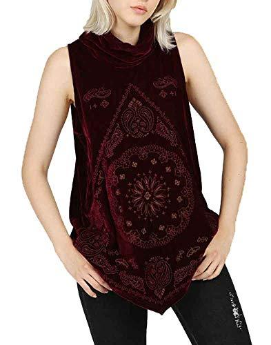 POL Clothing Women's Embroidered Turtleneck Sleeveless Velvet Top with Pointed Hemline (Burgundy, Medium)
