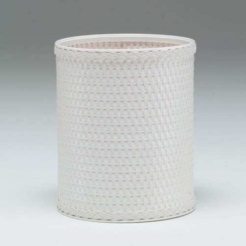 Redmon Chelsea Collection Decorator Color Round Wicker Wastebasket, White by Redmon