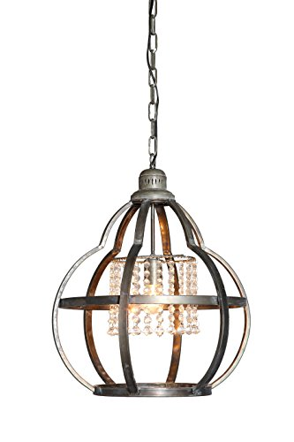 Creative Co-Op Metal Pendant Light with Crystals