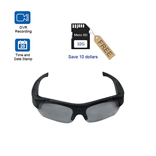 Smart Camera Video Glasses,1080P HD Video Recording Camera with 32GB Built-in Memory,UV Protection Safety Lenses,Sunglasses (Best Recording Cameras)