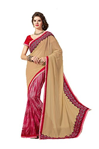 Mrs.India Ethnic Chiffon and Net Saree in Beige color for women 77201 - Net Sarees In India