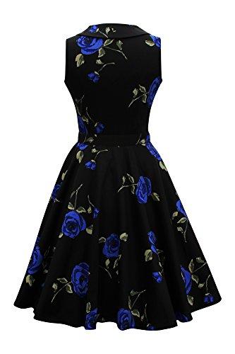 Black Butterfly Robe Années 50 Rétro Infinity Luna (Grosses Roses Bleus, FR 36 - XS)