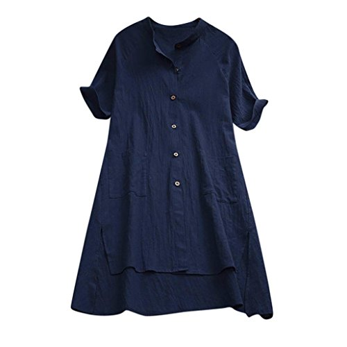 DEATU Womens Linen Ladies Buttons Asymmetrical Loose with Pockets Tunic Tops Short Sleeve T Shirt Blouse (XL, Navy) ()