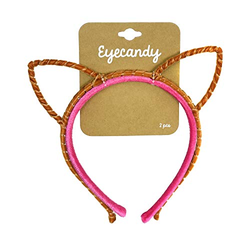 Simple Cute Velvet Kitty Cat Ears Headband 4 piece Basic Furry Set Hair Band Accessories for Girls and Women (Copper Cat, Pink Basic Headband)]()