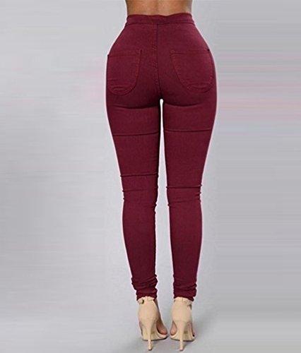 Crayon Stretch Leggings Pantalons Vin Haute Skinny Collants Pantalon Jeans Push Taille Rouge Denim Up Femmes ZKOO qTw41Y