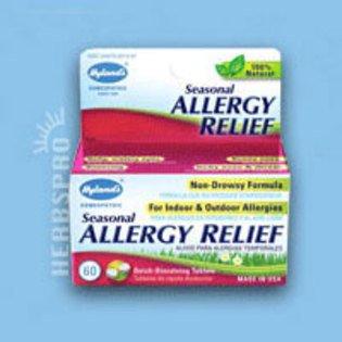 Homéopathie allergies saisonnières secours de Hyland 60 comprimés