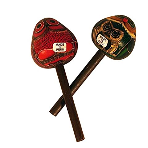 Wholesale Pack 12 Owl Gourd Maracas Hand Carved Peru Fair Trade Musical Instruments Pack *000001* - Peruvian Carved Gourds