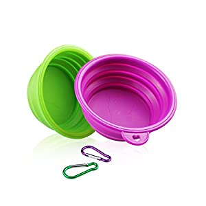 YOBY 2-Packs of Collapsible Travel Bowl,Foldable Expandable Dish for Pet Cat Food Water Feeding,Premium Quality Food Grade Silicone Environmental Protection Material,Small to Medium Dogs 9