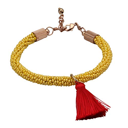 - El Allure Preciosa Jablonex Glass Seed Bead Yellow and Red Trendy Handmade Fine Crochet Bracelet with Silk Thread Fringe Drop Tassel and Rose Gold Clasp for Women.