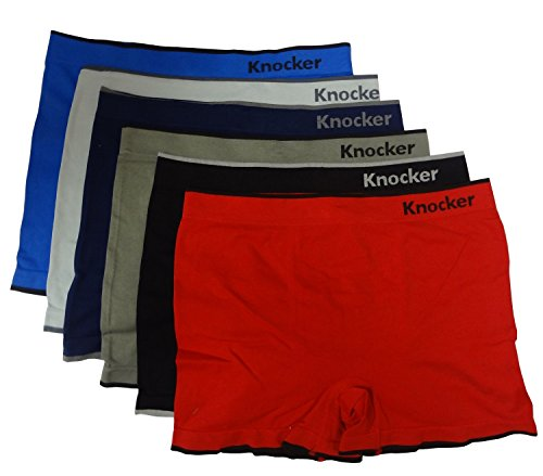 6 Men Seamless Boxer Briefs Underwear Spandex Free Size 32