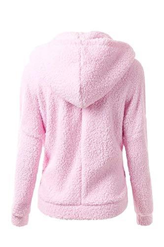 Mode Abrigos BOLAWOO De Otoño Mujer Chaqueta Capucha Polares Hoodie Invierno Pink con Termica Marca Espesor Cremallera Vellón Manga Casual Larga Chaqueta Elegantes con Outerwear Hipster arwza
